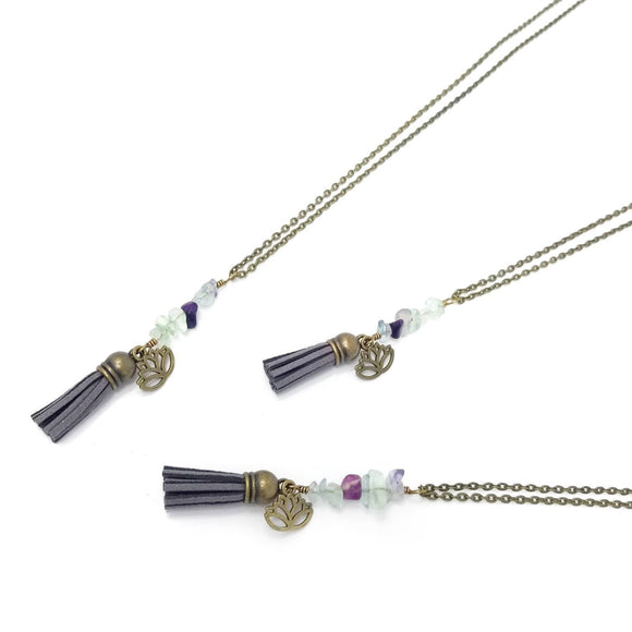 Fluorite Lotus Tassel Diffuser Necklace
