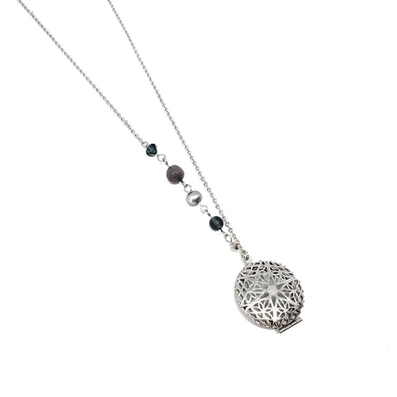 Navy Crystal & Freshwater Pearl Oil Diffusing Necklace