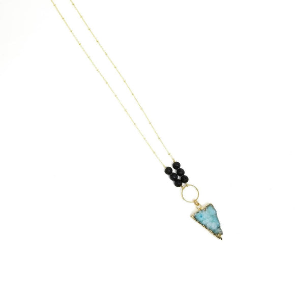 Aqua Druzy Triangle Diffuser Necklace