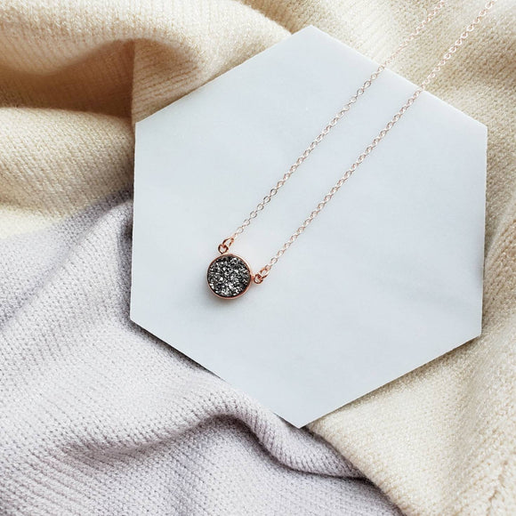 Dainty Druzy Crystal Necklace