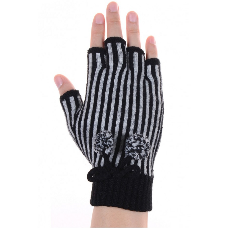 STRIPED FINGERLESS GLOVES - GraceHats Gloves Grace Hats - Grace Hats