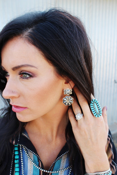 Navajo Silver Concho Earrings - Triangle T Boutique