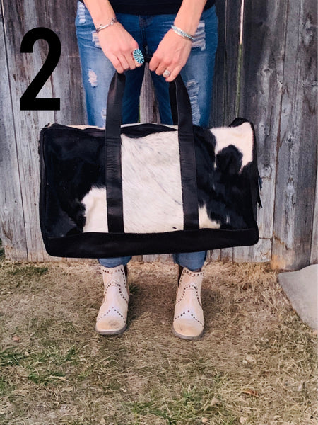 Travelin' Man Cowhide Duffel Bag - Black - Triangle T Boutique