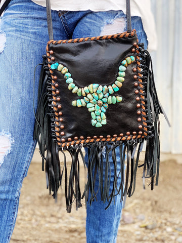 The Cadillac Ranch Fringe Crossbody Purse - Black - Triangle T Boutique