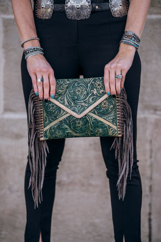 The Reckless Turquoise Fringe Purse
