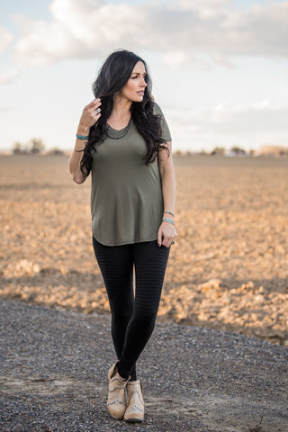 The Kendra V-Neck Tee - Olive