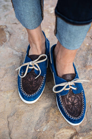 The Trails End Moccasins - Blue - Triangle T Boutique
