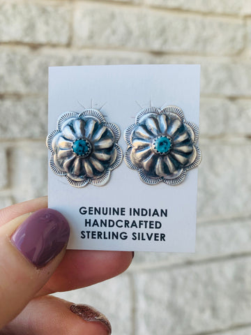 Sterling Silver & Turquoise Concho Earring - Triangle T Boutique