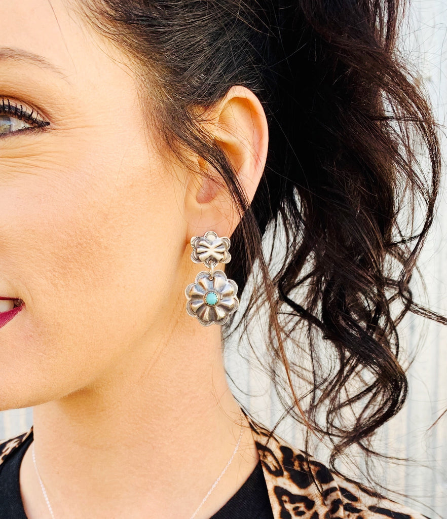 Navajo Silver with Turquoise Concho Earrings - Triangle T Boutique