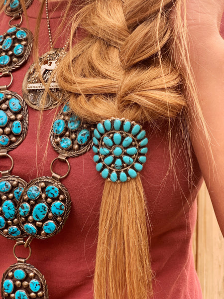 Large Turquoise Cluster Hair Slide - Triangle T Boutique