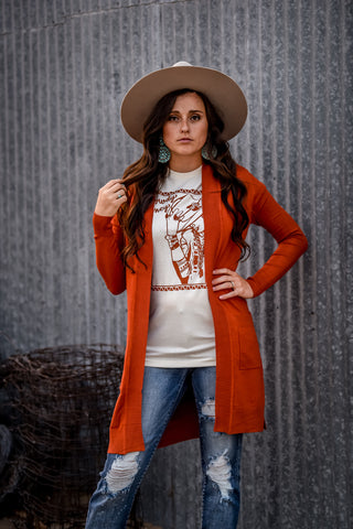 The Harvest Festival Cardigan - Rust