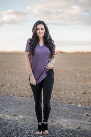 The Kendra V-Neck Tee - Purple