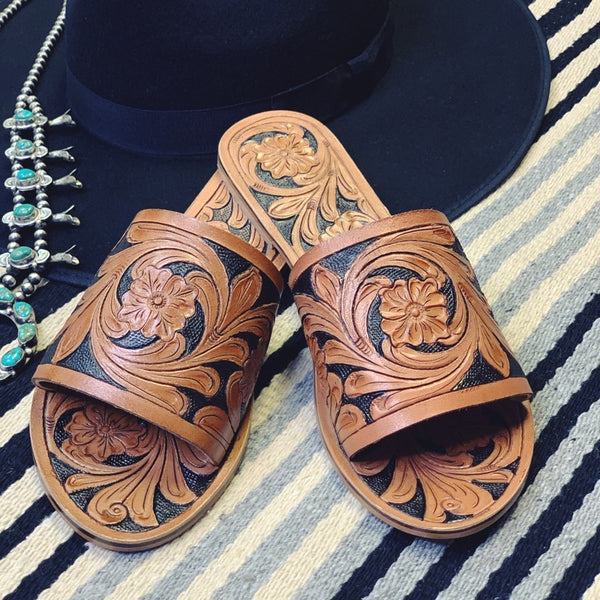 The Wayne Tooled Leather Slides - Triangle T Boutique