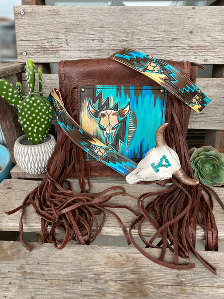 The Painted Mesa Fringe Purse - Cow Skull