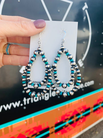 Genuine Navajo Pearl & Turquoise Double Teardrop Earrings - Triangle T Boutique