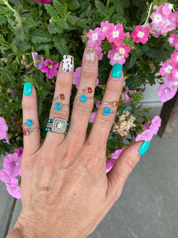 The Shaley Wrap Ring - Turquoise and Coral