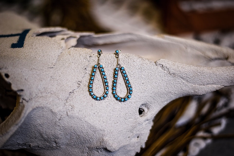The Patsy Teardrop Turquoise Earrings - Triangle T Boutique