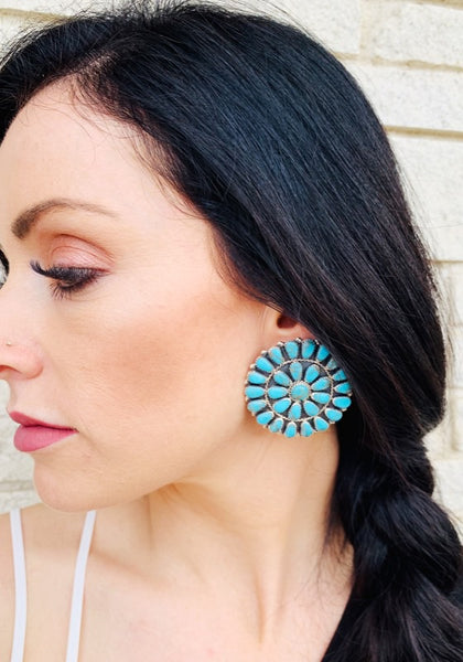 Round Turquoise Cluster Earrings - Large - Triangle T Boutique