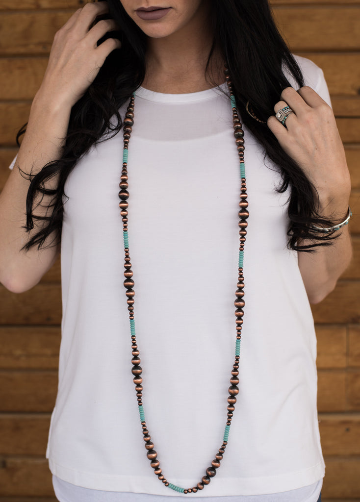 Ultra Long Turquoise & Navajo Pearls - Copper