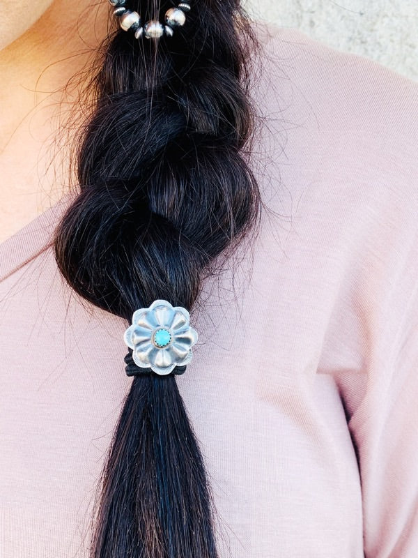 Turquoise Concho Hair Tie - Triangle T Boutique