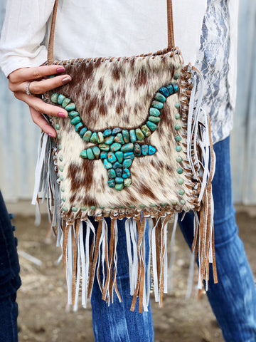 The Cadillac Ranch Fringe Crossbody Purse - Tan Cowhide - Triangle T Boutique