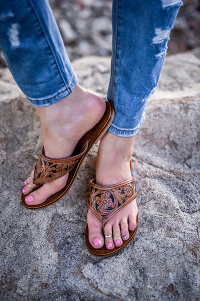 The Rosenberg Tooled Leather Flip Flops