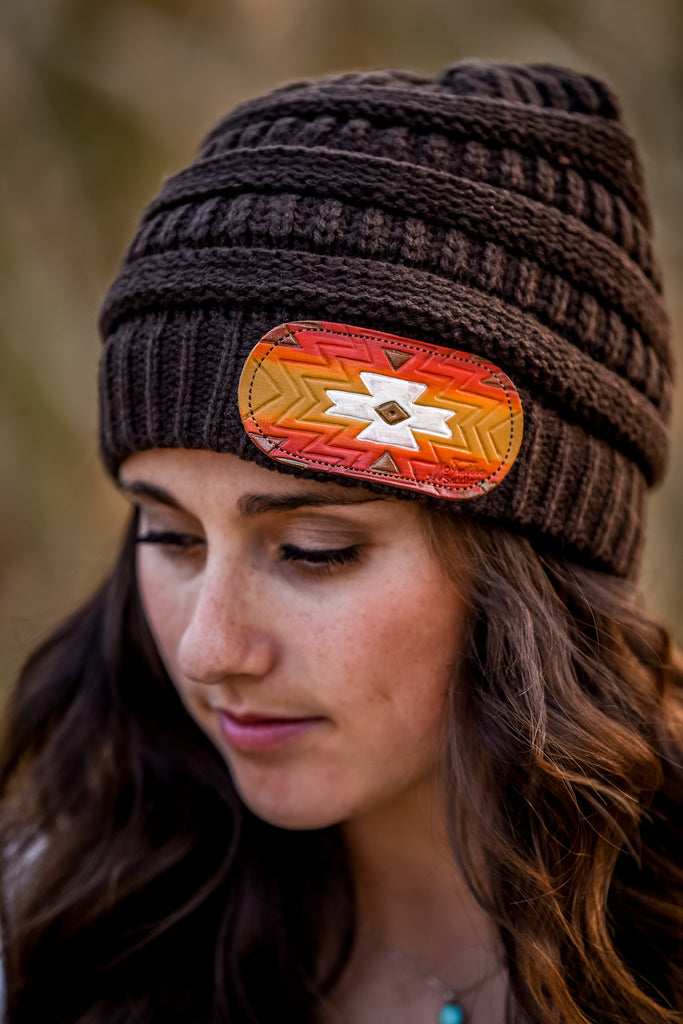 Leather Patch Beanie - Brown