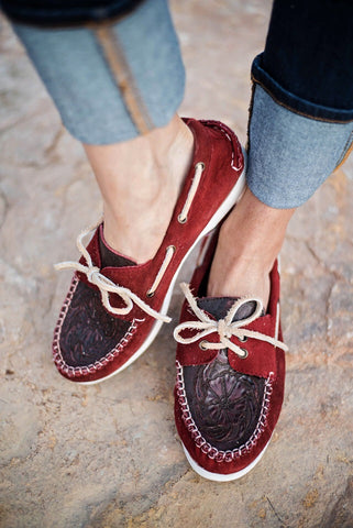The Trails End Moccasins - Sangria - Triangle T Boutique