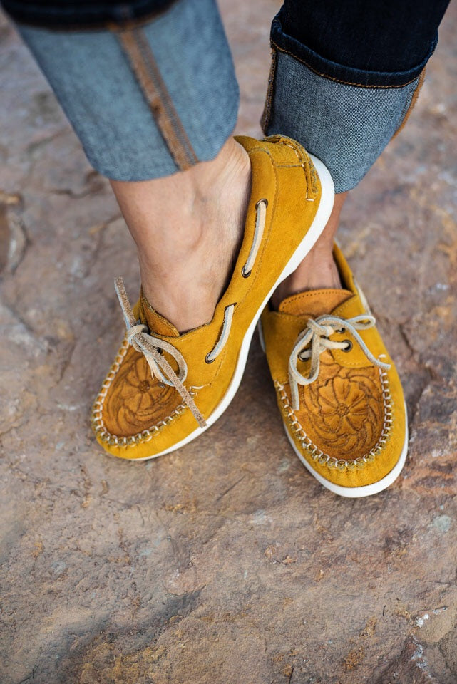 The Trails End Moccasins - Mustard - Triangle T Boutique