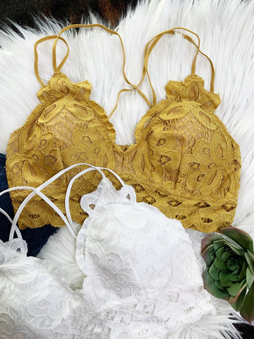 Lace Bralettes - Mustard - Triangle T Boutique