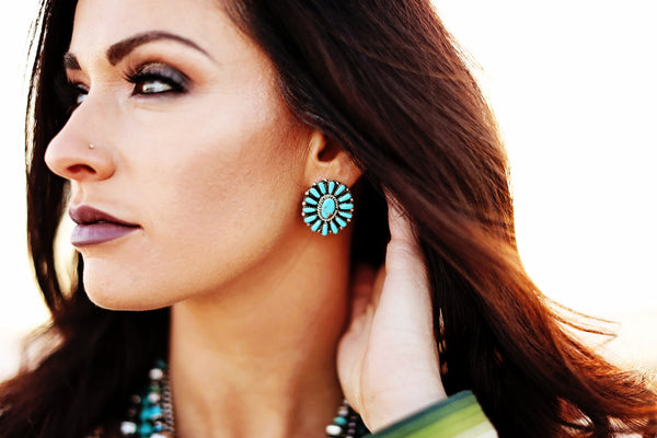 Turquoise Cluster Earrings - Triangle T Boutique