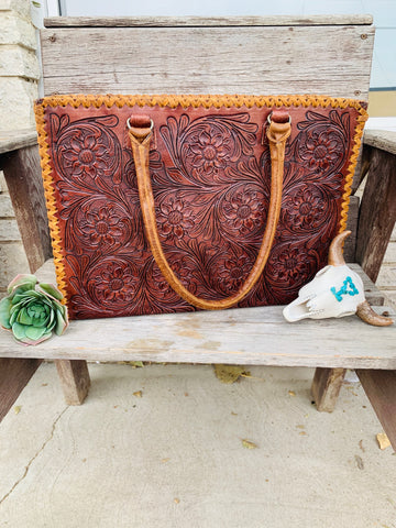 The Barbosa Floral Tooled Tote - Mahogany - Triangle T Boutique