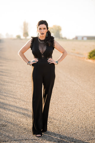 The Shea Black Lace Jumpsuit