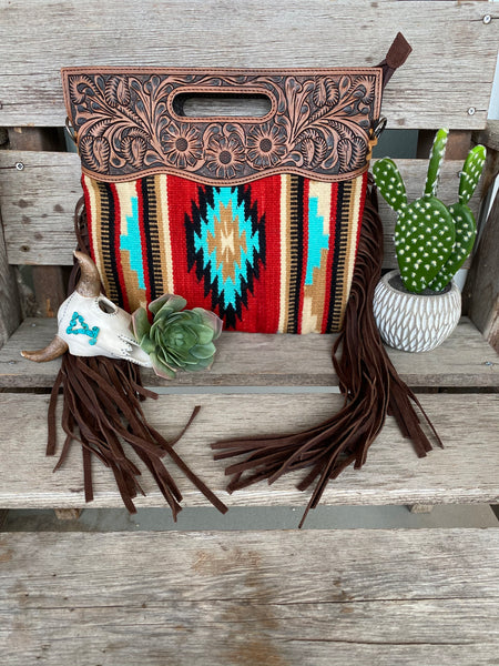 The Big Chief Saddle Blanket Purse with Fringe