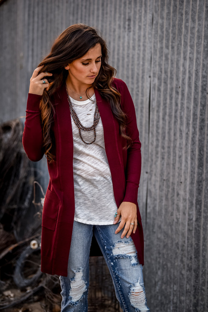 The Harvest Festival Cardigan - Burgundy