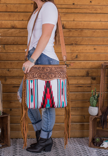 The Maddox Saddle Blanket Purse - White