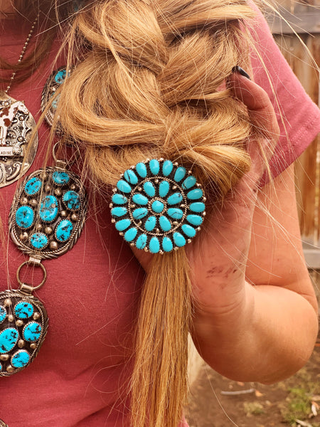 Large Turquoise Cluster Hair Tie - Triangle T Boutique