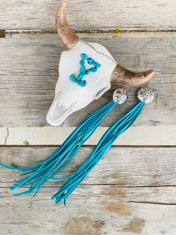 The Fancy Fringe Earrings - Turquoise - Triangle T Boutique