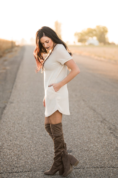 The Kennedy T-Shirt Dress - Cream