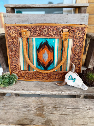 The Calamity Tote - Turquoise & Rust