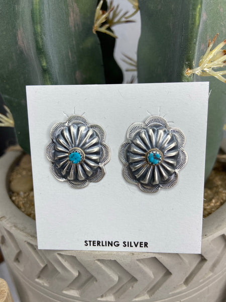 The Bruneau Turquoise Concho Earrings - Small
