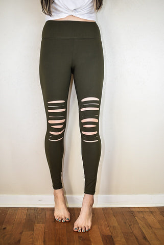The Cut Out Leggings - Olive - Triangle T Boutique