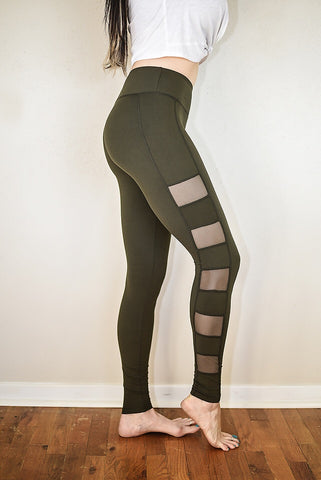 The Peek-A-Boo Leggings - Olive - Triangle T Boutique