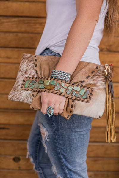 The Rough Stock Clutch - Brown & White Cowhide