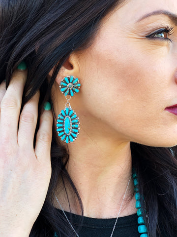 Double Concho Hanging Turquoise Earrings