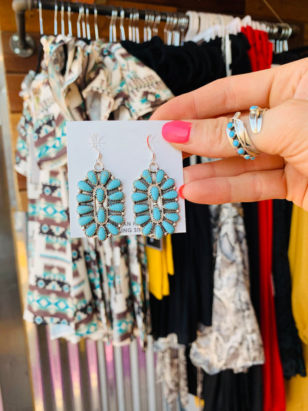 The Western Skies Turquoise Cluster Earrings - Triangle T Boutique