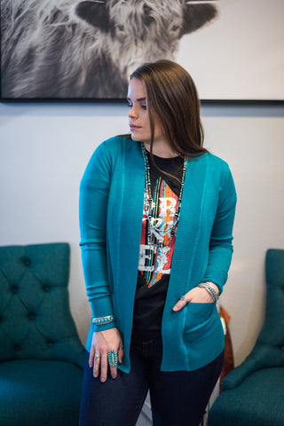 The Melody Cardigan - Turquoise