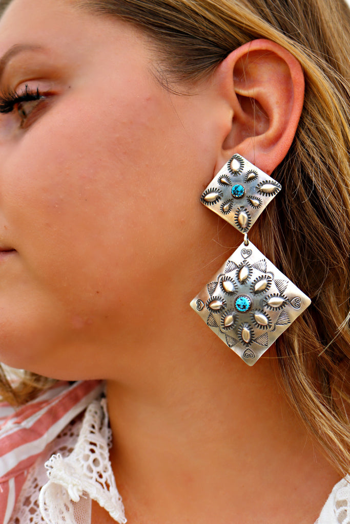 The Merna Large Sterling Silver Concho Earring - Triangle T Boutique