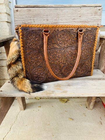 The Barbosa Floral Tooled Tote - Brown