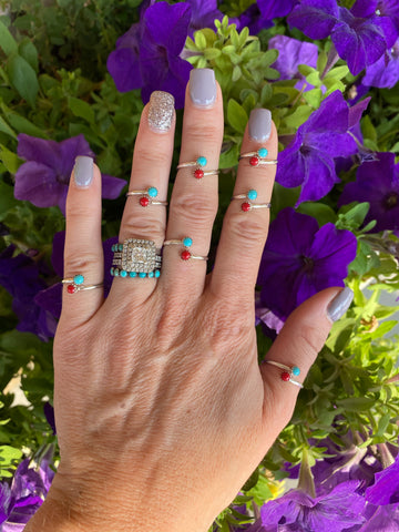 The Mini Shaley Wrap Ring - Turquoise and Coral